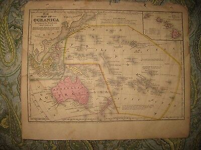 Antique 1852 Oceania Africa Australia Hawaii Polynesia New Zealand Handcolor Map