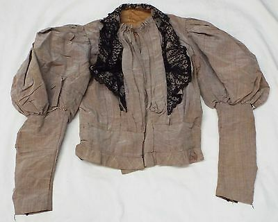 Old VICTORIAN Woman's Light Brown Top BLOUSE w/ Black Lace Trim Puffy Shoulders
