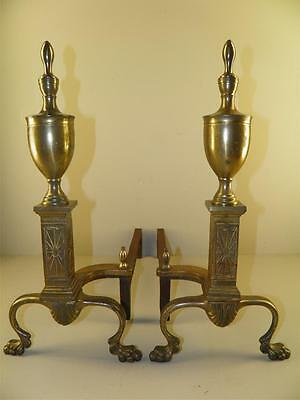 Vintage Brass Classical Paw Feet Fireplace Andirons Marked Bennett