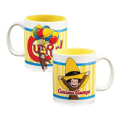 Curious George 12 oz Illustrated Yellow Ceramic Two Sided Coffee Mug, NEW UNUSED