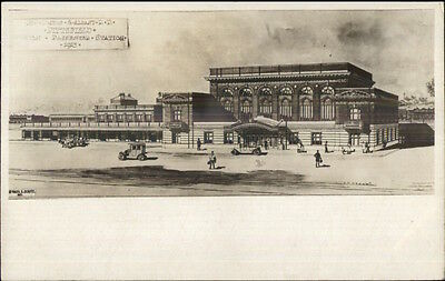 Pittsfield MA RR Train Station Architect Drawing c1910 Real Photo Postcard