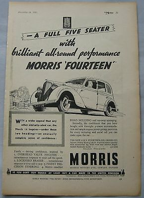 1937 Morris Fourteen Original advert