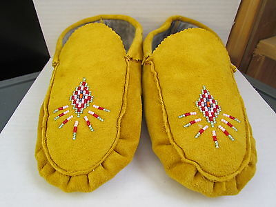 Native American Beaded Moccasins Tanned Hide Fleece Lined Extra Cozy 9.5 Inches