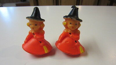 2) Vintage Gurley Girl Witch Candles with Yellow Brooms