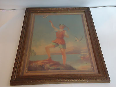 """Antique Vintage 1935 PETER PAN Eggleston Framed Wall Art Picture 14""""x18"""""""