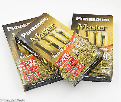 3 x Panasonic Master HD S-VHS ET Blank Video Cassette Tapes - New & Sealed