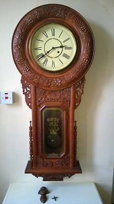 Extra Large (147 Cms Long) Stunning Gothic Looking Wall Clock In Working Order