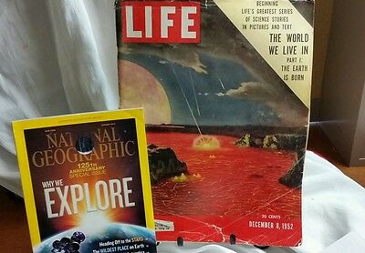 1952 Life Magazine Earth is born, & National Geographic 125th Anniv. Ed why we e