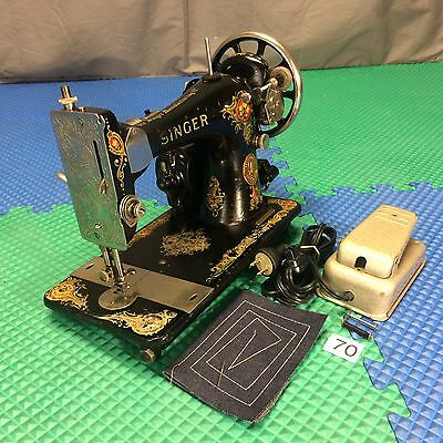 Antique 1923 Singer 128 La Vencedora Decal Electric 3/4 Sewing Machine Serviced