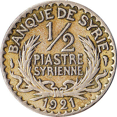 1921 French Middle East 1/2 Piastre Coin KM#68 One Year Type