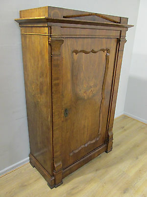 ANTIQUE 19th CENTURY MID VICTORIAN FRENCH EMPIRE WALNUT SINGLE DOOR WARDROBE
