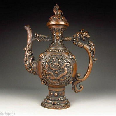Rare handmade Chinese Antique Style exquisite manual bronze flagon