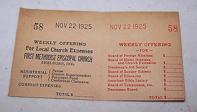 1925 First Methodist Episcopal Church Offering Envelope SHELBURN INDIANA