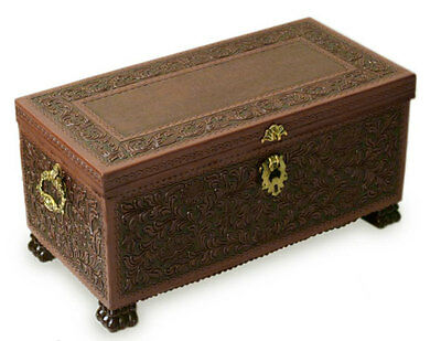 Colonial Trunk Hand Tooled Leather Wood Peru Storage Chest NOVICA Artisan