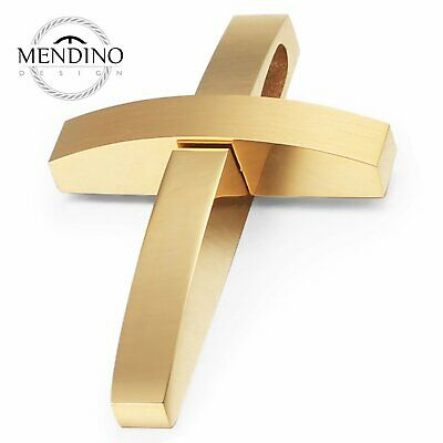 MENDINO Men's 316L Stainless Steel Pendant Necklace Cross Polished Gold Tone