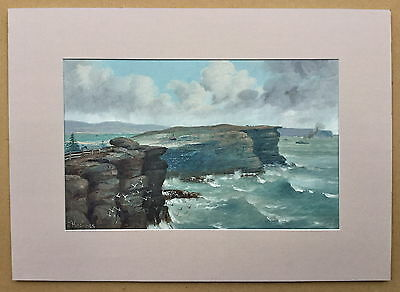 J.Hutchings  Oil on Board Sydney Heads painting