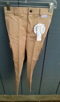 NWT HIGH LINE OUTFITTERS Girls Size Beige Front Zip Cargo Pocket Riding Breeches