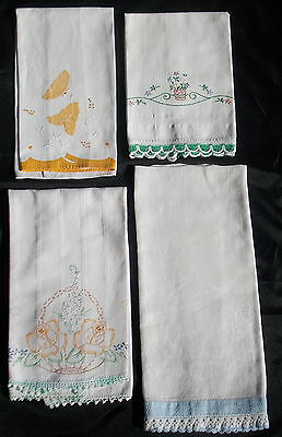 4 Vintage  Hand Towels White With Multi Color Applique Crochet Embroidery Huck