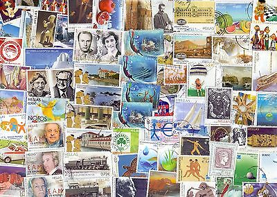 Greece  Lot   100 Different  Used Stamps Only Euro