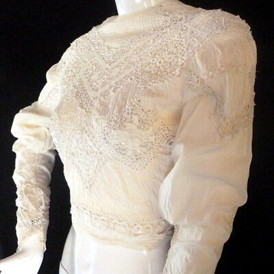 Exquisite 1800s 1900s Antique FRENCH Victorian Edwardian BLOUSE Lace Whitework