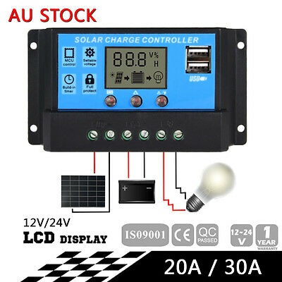12-24V 20/30A LCD Display PWM Solar Panel Battery Regulator Charge Controller BS