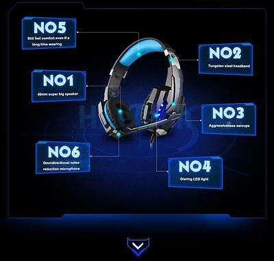 KOTION EACH G9000 Pro Gaming Stereo Headset LED Lights Headphones with Mic HK US