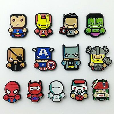13pcs Kids PVC Fridge Magnet Heroes Spider man Superman Bat Magnetic Sticker