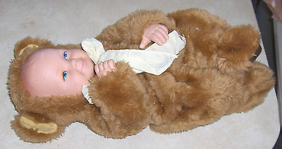 """Vintage Anne Geddes Baby Doll Red Hair Blue EyesBrown Bear Suit Yellow Bow 17"""""""