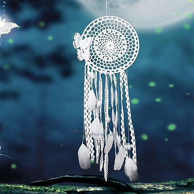 White Handmade Butterfly Dream Catcher Feather Bead Wall Hanging Decor Ornament