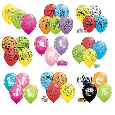 """6 x Character Latex Balloons 11"""" - Assorted Colours {Qualatex} (Birthday/Party)"""