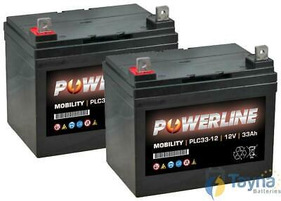 2 (1 Paire) Powerline 12V 33Ah Deep Cycle AGM Batterie Mobilty