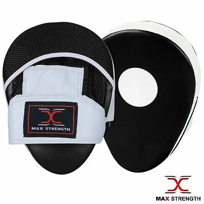 MAXSTRENGTH Focus Pads Hook & Jab Mitts Kick Boxing Sparring MMA Strike Black