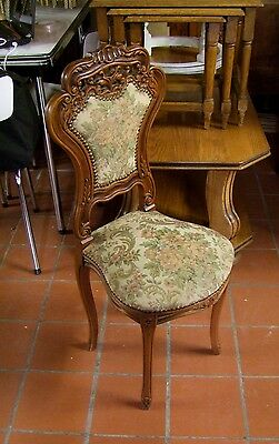 Louis Xv Style Vintage Mahogany And Needlepoint Small French Chair -  (030018)