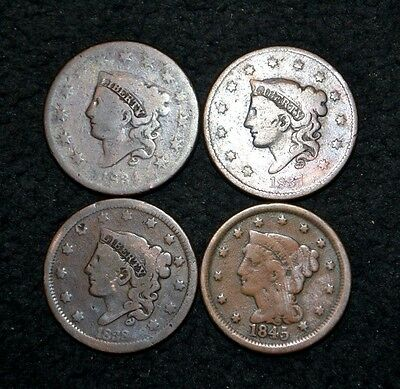1834 1837 1838 1845 Large Cent Lot***four Cents***free S/h