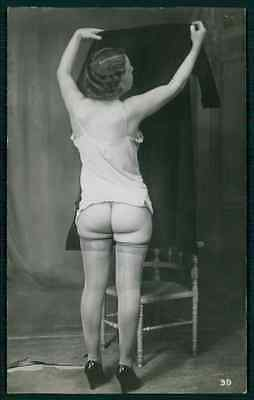 French nude butt & stockings woman Biederer original c1920s photo postcard