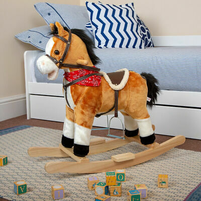 Kids Rocking Horse Pony Toy Moving Mouth Sounds Ride On Rocker Gift Boys Girls
