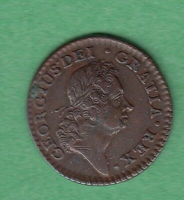 1723 Ireland / U.S Colonial Woods Farthing Coin -  Very Nice Obverse
