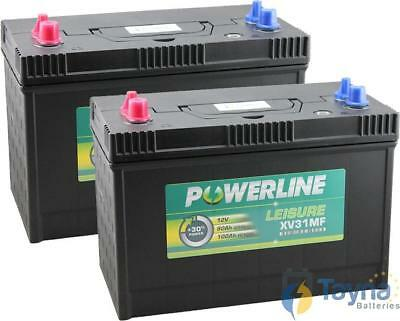 Paire 12V batterie à cycle profond POWERLINE XV31MF Leisure Caravan Marine Bate