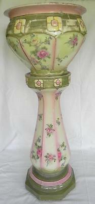 Edwardian Pottery Jardiniere Pot on Stand Transfer Printed Flowers c 1920