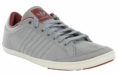 Adidas Originals Plimcana Clean Low Grey Suede Leather Lace Up Mens Trainers