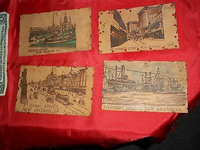 Four Postcards   New Orleans Louisiana Over 100 Years Old Louisiana Leather