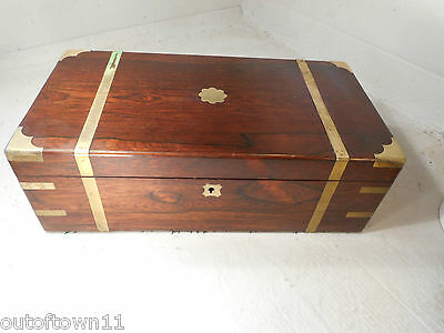 Antique Rosewood Writing Slope  Box , Secret Drawers   ref 2319