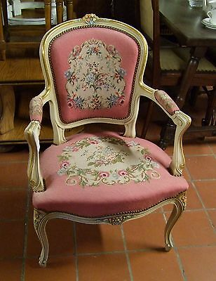 Lovely French Painted Needlepoint Armchair - (030015)