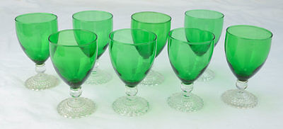 Vintage 8pc Emerald Green Anchor Hocking Clear Footed Bubble Stem Water Goblets