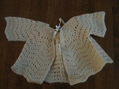 Vintage hand-knitted pale yellow wool  baby sweater-c 1950's