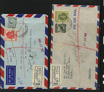 Australia   2  nice registered covers to  US           MS0823