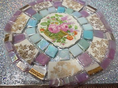 Vintage Broken China Mosaic Tile Set Classic Shabby Floral Design Center Focal