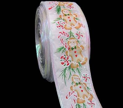 "5 Yds Christmas Gingerbread Man Cookie Candy Canes Wired Ribbon 2 1/2""W"