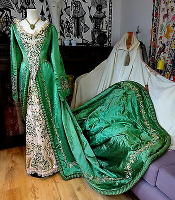Authentic Victorian English Emerald Court Dress Calcutta Beetle Wing Embroidery