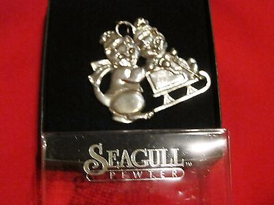 Vintage Seagull Pewter Cat kittens sledding Ornament-Collectible 1990